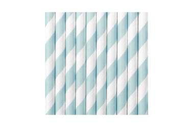 10 Pailles à rayures - bleu clair
