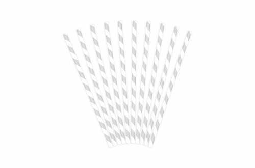 10 Pailles à rayures grises