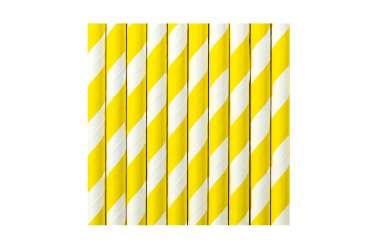 10 Pailles à rayures jaunes