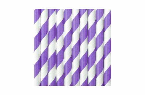 10 Pailles à rayures violettes