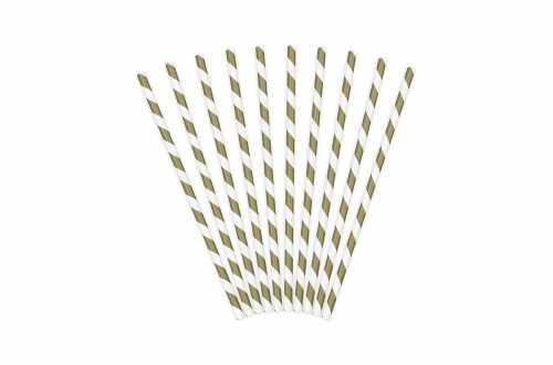10 Pailles à rayures dorées