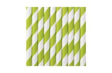 10 Pailles à rayures vertes