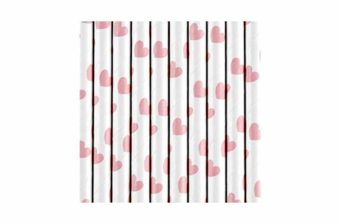 10 Pailles à cœur roses clair