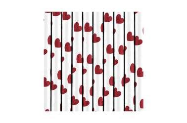 10 Pailles à cœur rouge