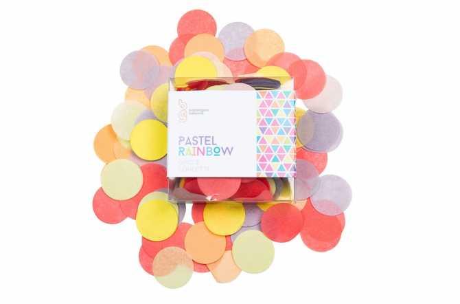 Confettis nuances arc en ciel pastel