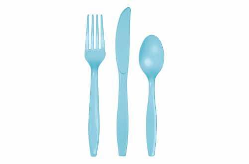 24 Couverts plastiques bleus pastels