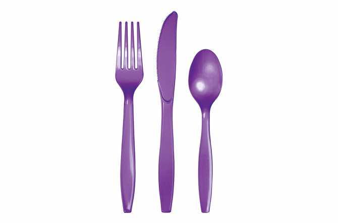 24 Couverts plastiques violet
