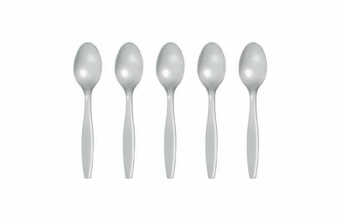 12 Petites cuillères en plastique gris