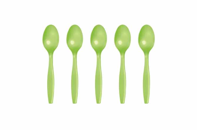 24 Petites cuillères en plastique vert kiwi