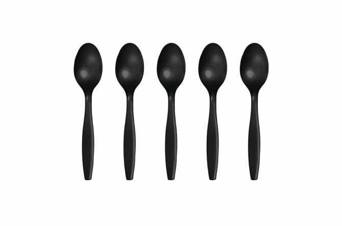 12 Petites cuillères en plastique noir