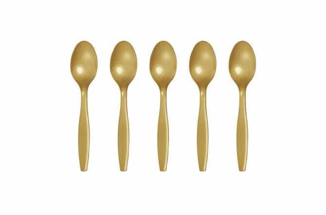 24 Petites cuillères en plastique doré