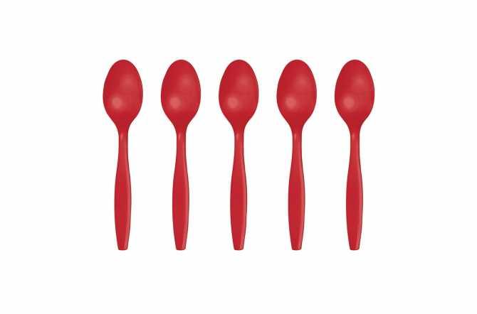 24 Petites cuillères en plastique rouge