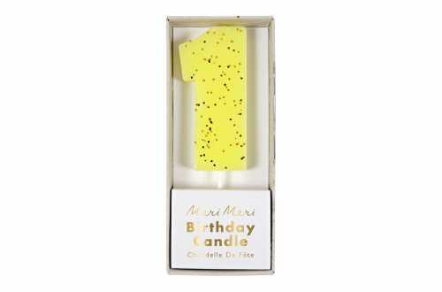 Une bougie d'anniversaire jaune pailletée - Chiffre 1