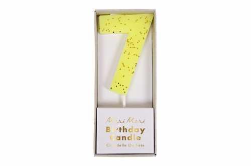 Une bougie d'anniversaire jaune pailletée - Chiffre 7