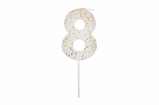 Une bougie d'anniversaire blanche pailletée - Chiffre 8