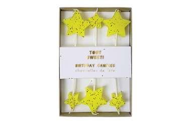 12 Bougies Etoiles jaunes pailletées