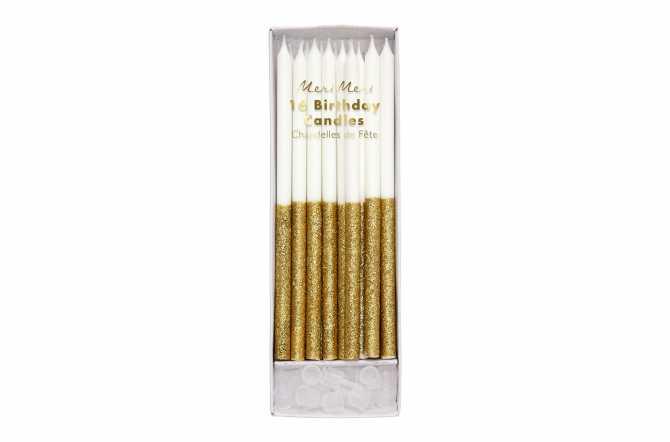 16 Longues bougies pailletées dorées trempées