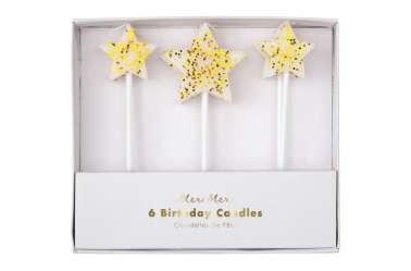 6 Bougies étoiles à paillettes dorées