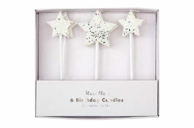 6 Bougies étoiles à paillettes argentées