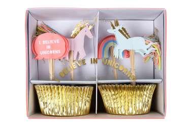Kit caissettes et toppers pour 24 cupcakes - Licorne