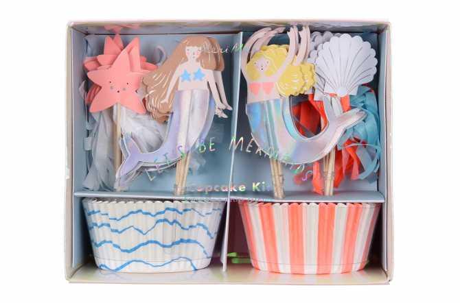 Kit de 24 cupcakes et toppers - Sirène