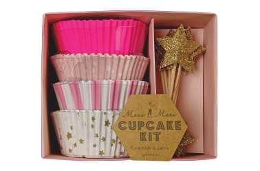 Kit caissettes et toppers pour 24 cupcakes - Etoiles