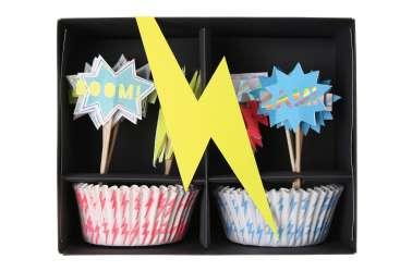 Kit caissettes et toppers pour 24 cupcakes - Super-héros
