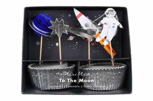 Kit 24 caissettes cupcake et toppers étoile astronaute