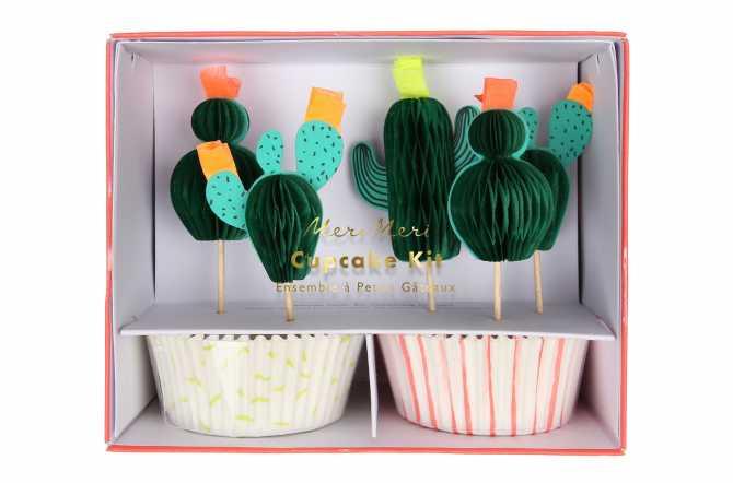 Kit de 24 cupcakes et toppers - Cactus
