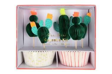 Kit caissettes et toppers pour 24 cupcakes - Cactus