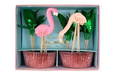 Kit caissettes et toppers pour 24 cupcake - Flamants roses
