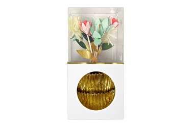 Kit caissettes et toppers pour 24 cupcakes - Fleurs