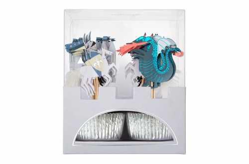 Kit de 24 cupcakes et toppers - Chevalier et Dragon