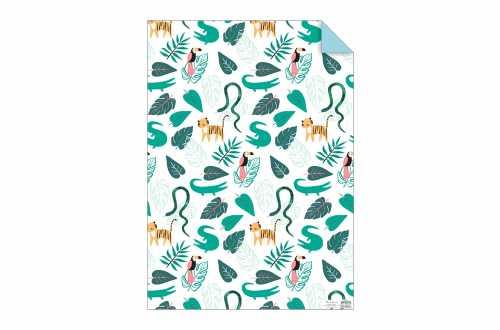 Rouleau de 3 feuilles de papier cadeau - Animaux de la jungle