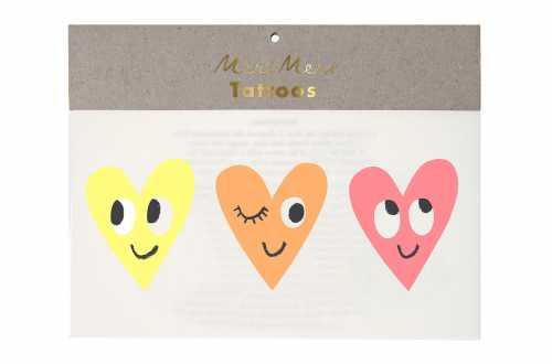 6 Tatouages temporaires - Cœurs souriants
