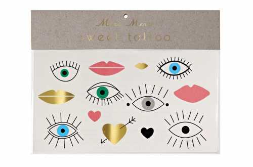 Tatouages temporaires-Cœurs, yeux et lèvres