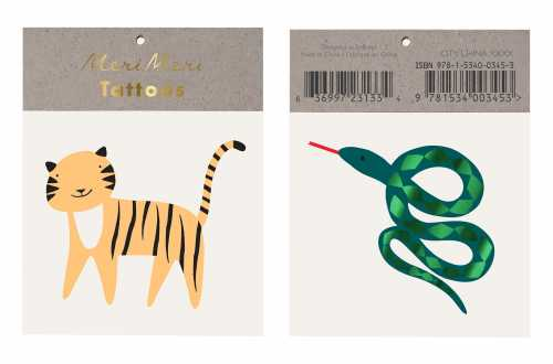 Tatouages temporaires - Tigre et Serpent de la Jungle