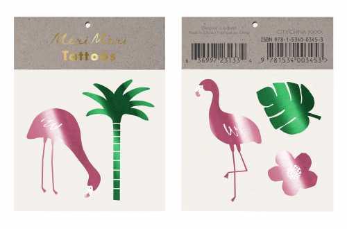 Tatouages temporaires - Flamants et feuilles de palmiers