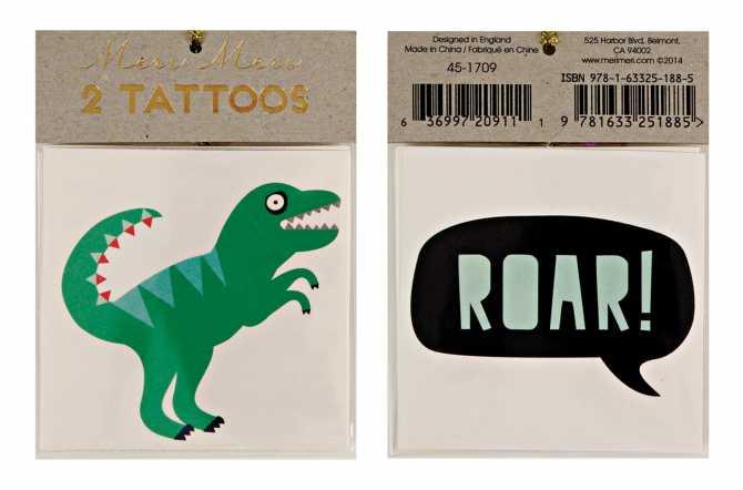 Tatouages temporaires - Dinosaure