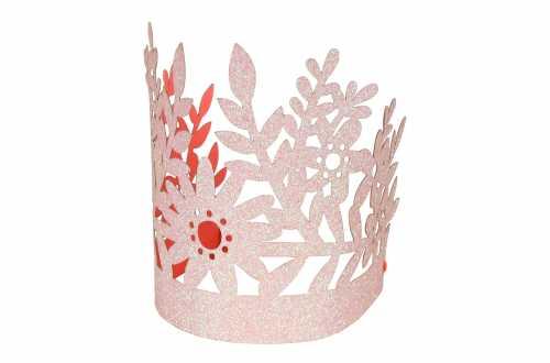 8 Couronnes fleur pailletée rose - Fée