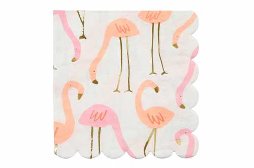 16 Petites serviettes - Flamants roses