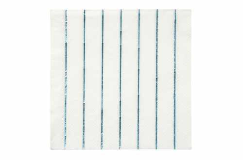 16 Petites serviettes rayures bleu holographique