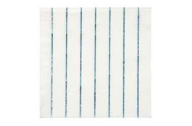 16 Petites serviettes rayures bleues holographiques