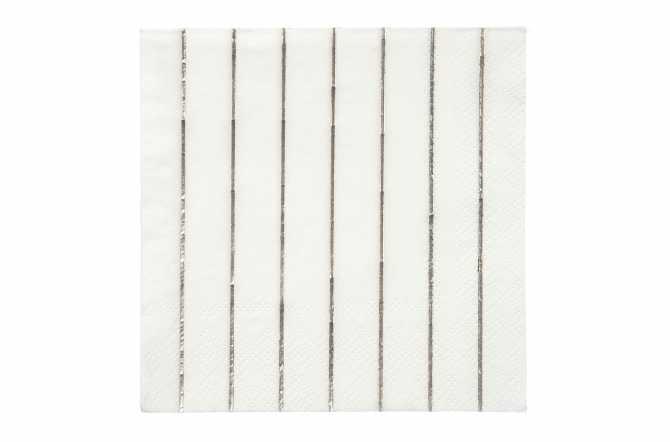 6 Petites serviettes rayures argentées