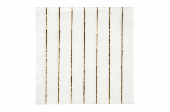 16 Petites serviettes rayures dorées
