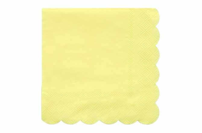 20 Petites serviettes jaunes pastels