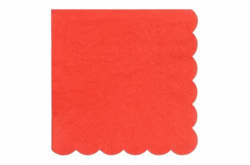 20 Petites serviettes rouge pastel