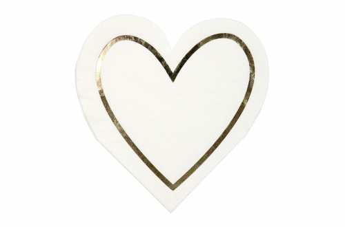 16 Petites serviettes cœurs à liseré doré
