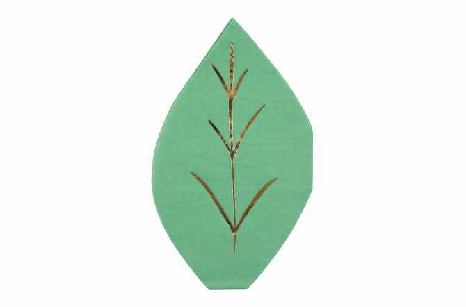16 Serviettes feuilles à ramage doré