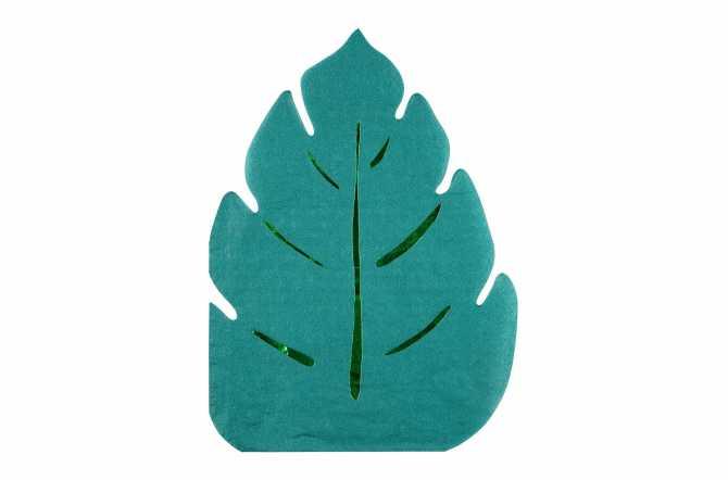 16 serviettes feuilles vertes